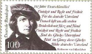 """Die Briefmarke wurde im Jahre 1991 zum 150jährigen Jubiläum des """"Lied der Deutschen"""" herausgegeben."""